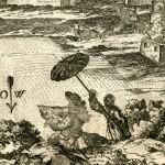 Engelbert Kaempfer beim Zeichnen der Stadtansicht von Isfahan, während ein Junge ihn gegen die Sonne abschirmt (StaL Sig. Bib. 1516/2 (Amoenitates exoticae, Lemgo 1712), S. 163)