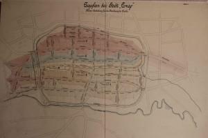 Flächeneinteilung für die Berechnung der Kanäle im Stadtgebiet Lemgo nach der Planung Weidlich, 1899 (StaL K 1783)