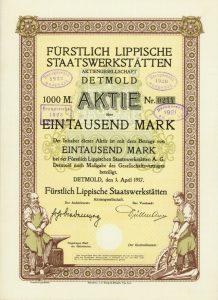 """Aktie der """"Fürstlich Lippische Staatswerkstätten AG"""" 1917 (http://www.hwph.de/historische-wertpapiere/losnr-auktnr-pa24-1432.html)"""
