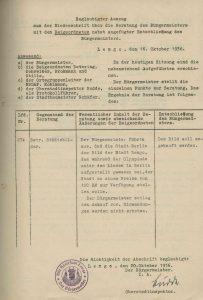 Protokollauszug aus der Sitzung des Bürgermeisters mit den Beigeordneten, 1936 (StaL B 3656)