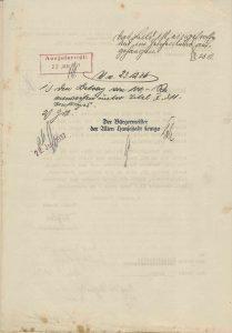 Handschriftlicher Vermerk über die Aufhängung des Bildes bei der Stadt Lemgo, 1936 (StaL B 3656)